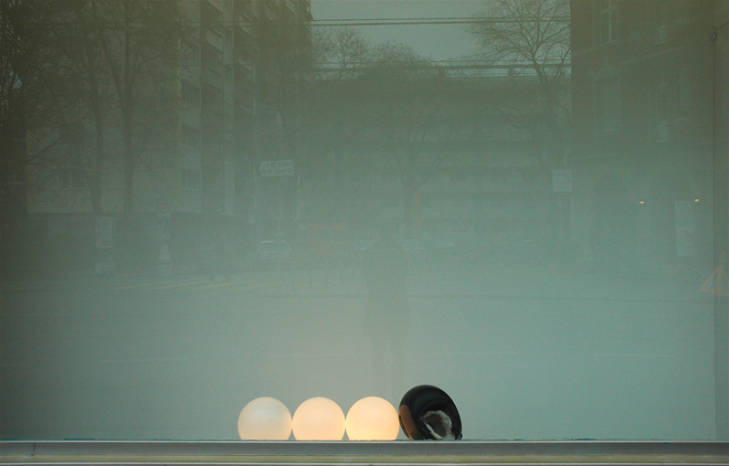 Pamela Rosenkranz, <i>Inform Headline</i>, 2008, helmet, lamps, clay, dimensions variable