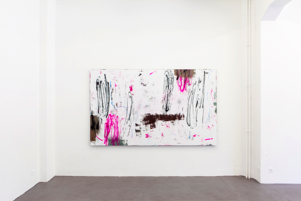 Henning Strassburger, <i>Globally Globally</i>, 2014, oil and lacquer on canvas, 150 x 250 cm