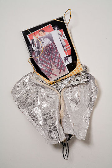 <i>Touch Me Happy Night Queen #1</i>, 2006, collage, frame, wire, fabric, zipper, Mylar, 91.5 x 68.5 x 5 cm