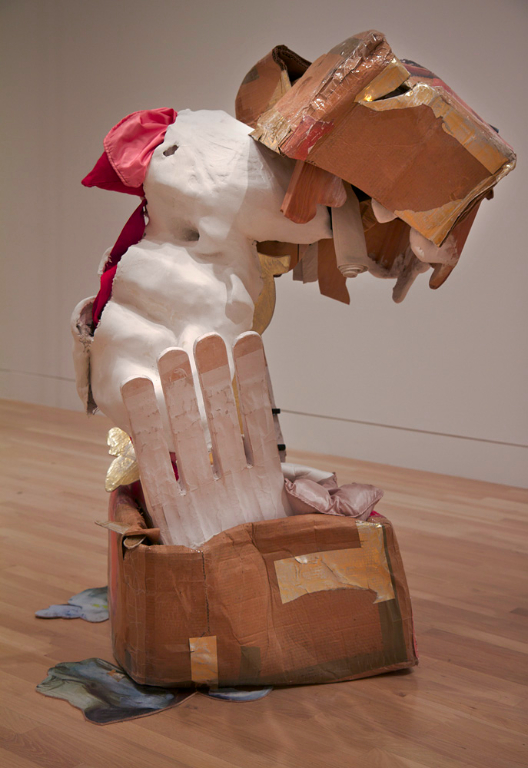 <i>We Dance Like Sculpture #2</i>, 2012, cardboard, packing tape, welded steel, plaster, fabric, chicken wire, wood, papier-mache, 148 x 89 x 86 cm