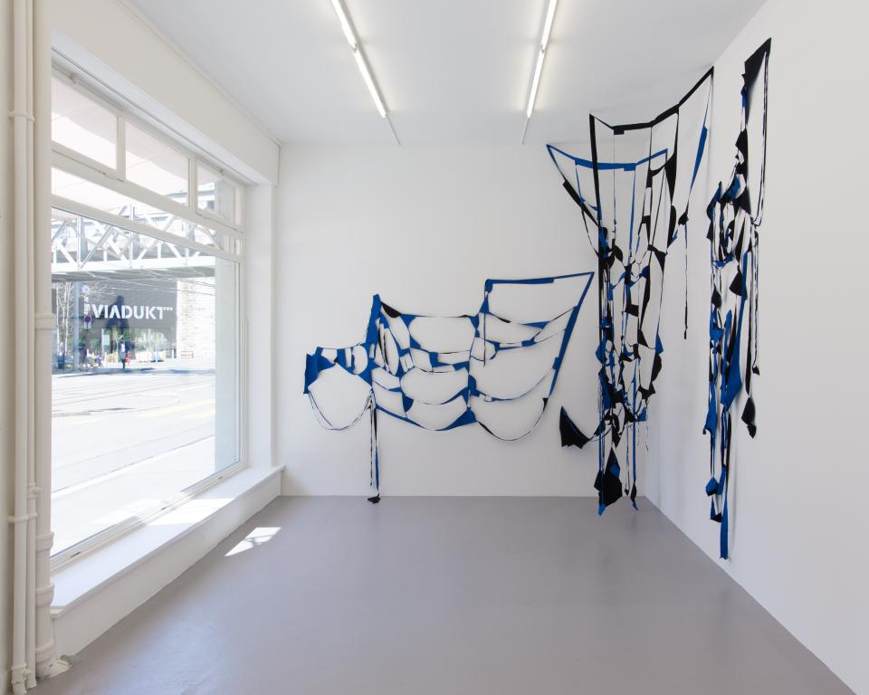 <i>Blauwald</i>, 2016, fabric, four elements, dimensions variable