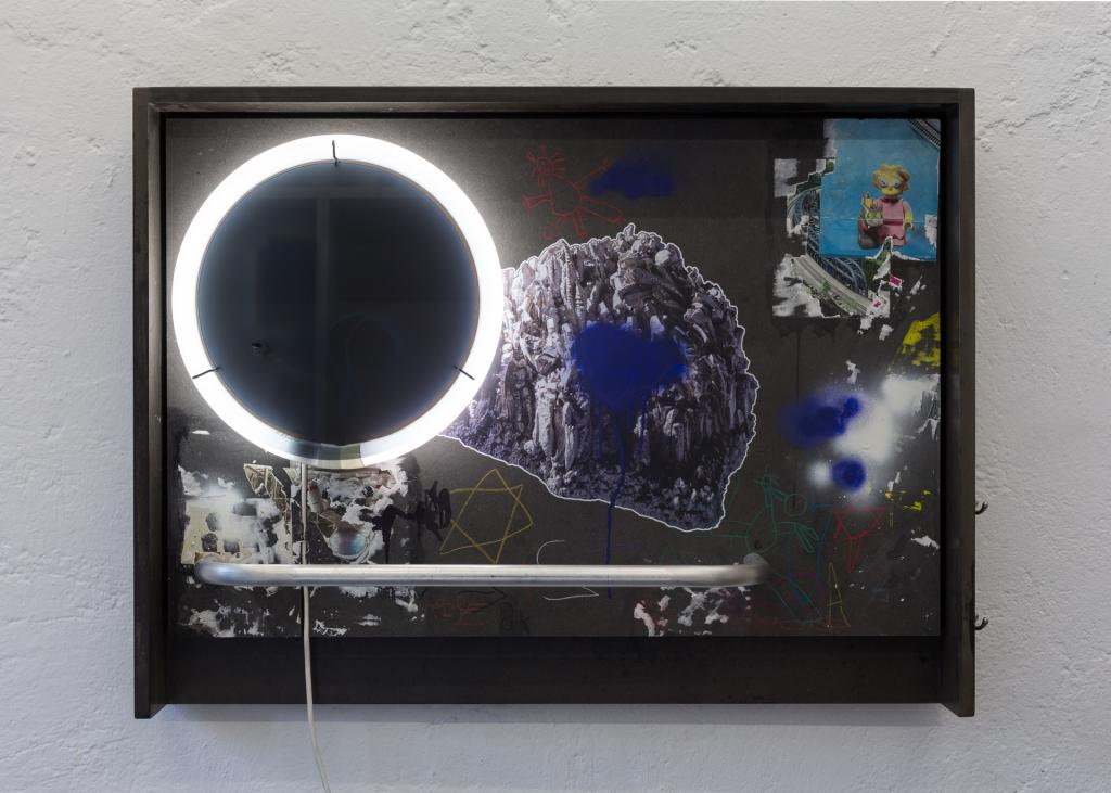 Patrick Hari, <i>Social center / GZ</i>, 2017, mixed media 100 x 75 x 23 cm