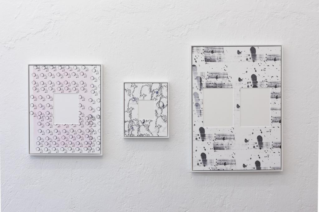 Cristian Andersen, <i>Passepartout Painting Series (1)</i>, <i>(2)</i> and <i>(3)</i>, 2019, UV-print on museum cardboard, 40.2 x 50.2 cm, 24.2 x 30.2 cm and 50.2 x 70.2 cm